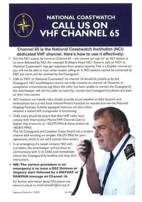 For Radio Checks, Weather Reports, Use Channel 65 - NCI