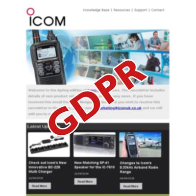 Icom UK and the General Data Protection Regulations (GDPR)