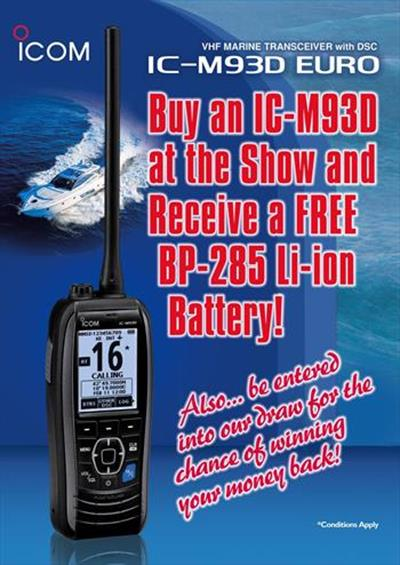 IC-M93D Battery Offer and 5 Year Warranty on Icom Marine VHF & AIS Products