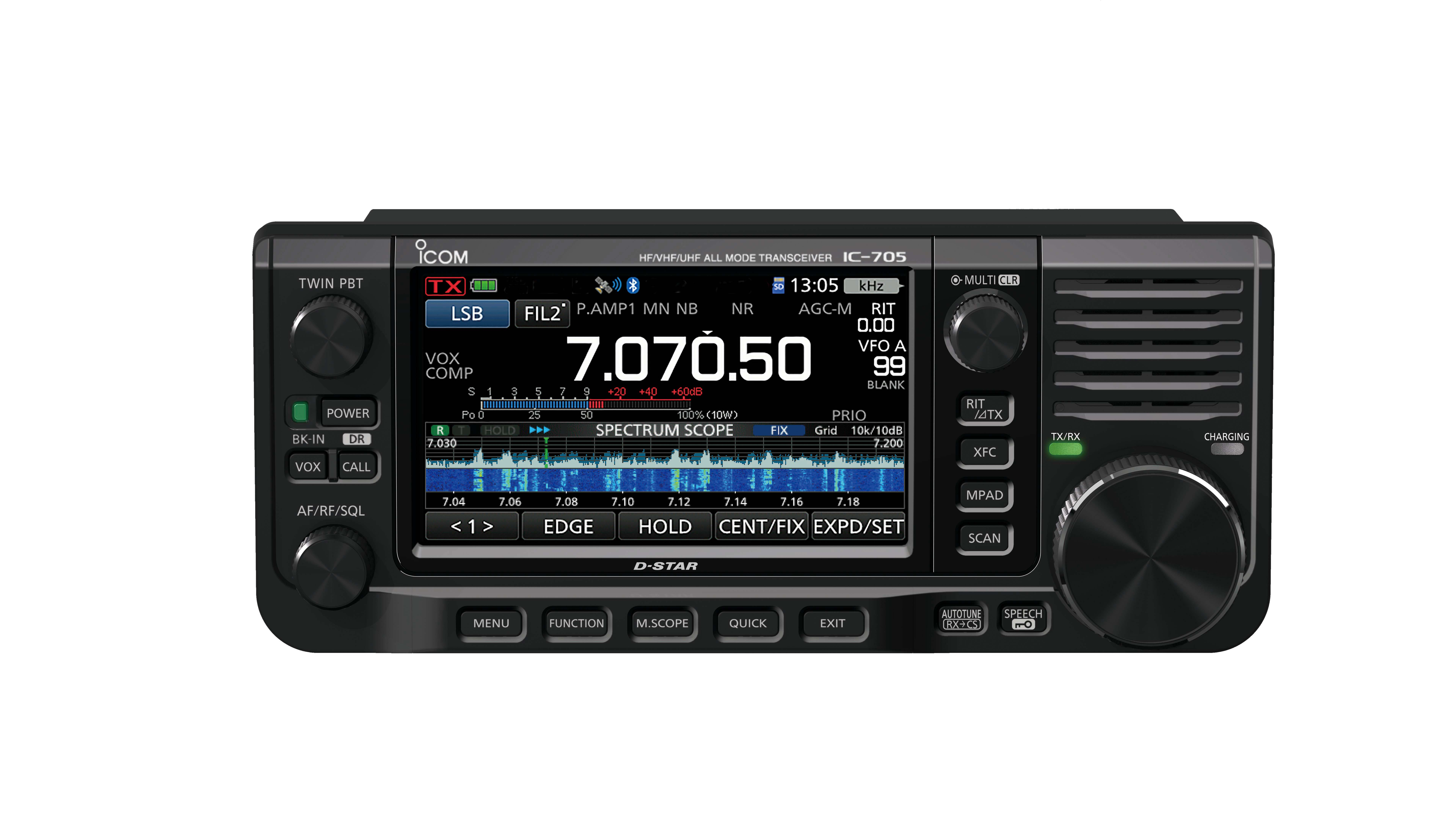 IC-705 RF Direct Sampling VHF, UHF, HF, D-Star All Mode 10W QRP Portable Transceiver (Front)