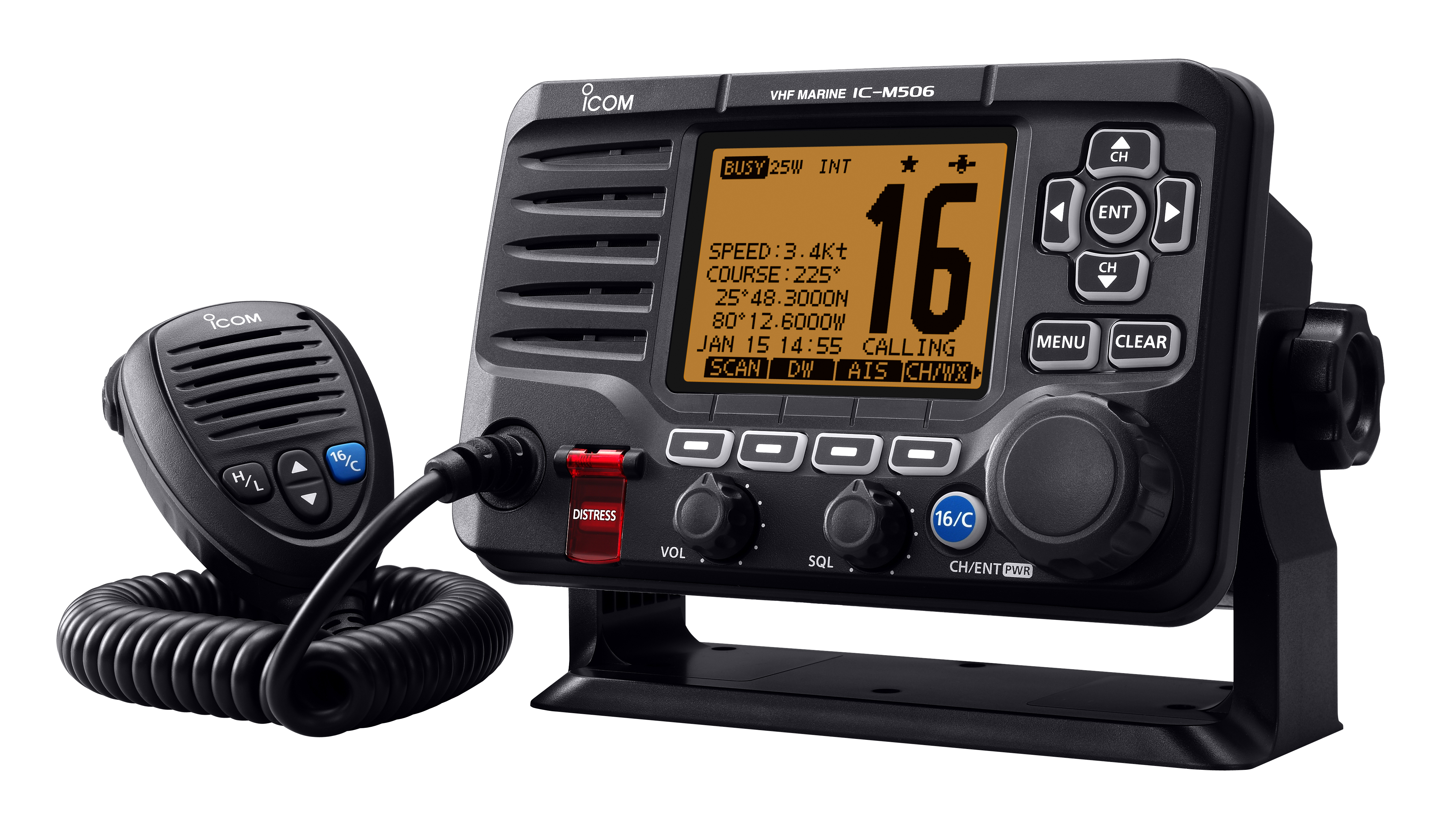 IC-M506GE VHF/DSC marine transceiver with NMEA 2000 connectivity and AIS receiver (Side)
